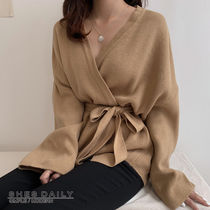 Casual Style Long Sleeves Plain Medium Gowns Cardigans