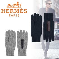 HERMES Cashmere Blended Fabrics Plain Leather