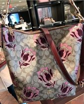 Coach Flower Patterns Plain Shoulder Bags