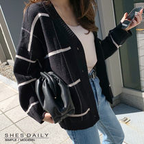 Other Check Patterns Casual Style Wool Dolman Sleeves