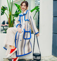 Stand Collar Coats Gingham Stripes Casual Style Wool