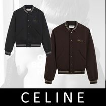 CELINE Stripes Wool Street Style Plain Medium MA-1 Varsity Jackets