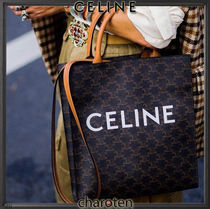 CELINE Triomphe Canvas Monogram Unisex Calfskin Canvas A4 3WAY Bi-color Leather