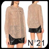 N21 numero ventuno Long Sleeves Plain Cotton Medium Lace Elegant Style