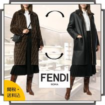 FENDI Stand Collar Coats Monogram Casual Style Fur Blended Fabrics