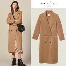 sandro Wool Plain Long Elegant Style Peacoats