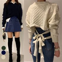 Cable Knit Short Stripes Casual Style Wool Rib V-Neck U-Neck