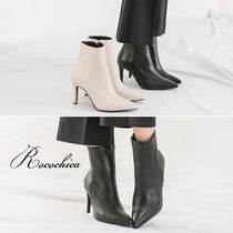 Plain Pin Heels Office Style Ankle & Booties Boots