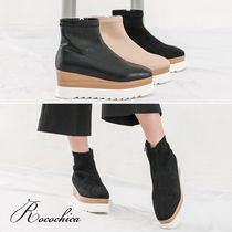 Square Toe Platform Casual Style Plain Ankle & Booties Boots
