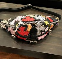 CHROME HEARTS CEMETERY CROSS Unisex Blended Fabrics Street Style Leather Bags