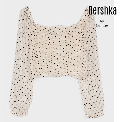 Short Dots Casual Style Puff Sleeves Cropped