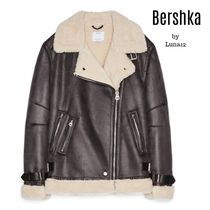 Bershka Casual Style Faux Fur Plain Medium Jackets