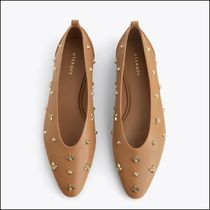 Uterque Embellished Leather Ballet Shoes