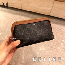 CELINE Triomphe Canvas Lambskin Pouches & Cosmetic Bags