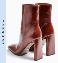 TOPSHOP Casual Style Leather Block Heels Ankle & Booties Boots