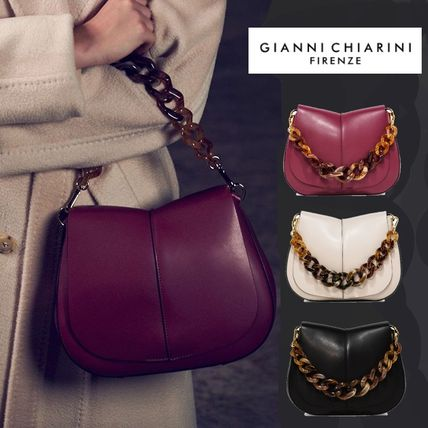 2WAY Plain Leather Office Style Crossbody Shoulder Bags