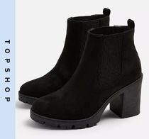 TOPSHOP Casual Style Faux Fur Block Heels Chelsea Boots