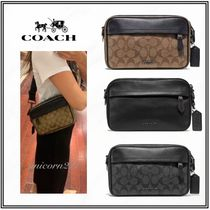 Coach Monogram Casual Style Street Style 2WAY Plain Leather