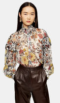 TOPSHOP Flower Patterns Casual Style Long Sleeves Office Style