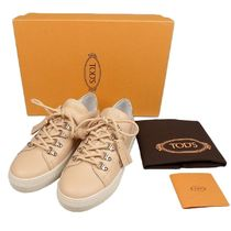 TOD'S Round Toe Casual Style Tassel Low-Top Sneakers