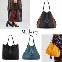 Mulberry Plain Leather Elegant Style Totes