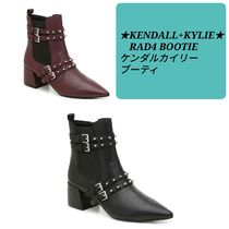 Kendall + Kylie Casual Style Plain Leather Block Heels Ankle & Booties Boots