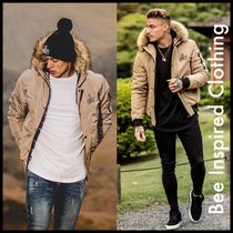 Bee Inspired Clothing Short Nylon Faux Fur Street Style Plain Down Jackets