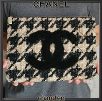CHANEL ICON Zigzag Unisex Blended Fabrics Wallets & Small Goods