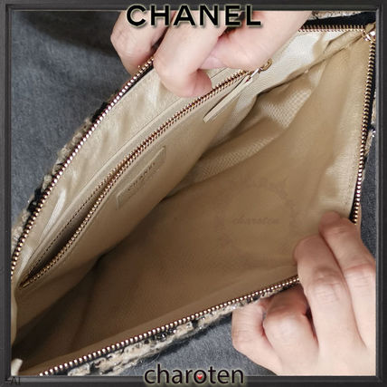 CHANEL ICON Zigzag Unisex Blended Fabrics Long Wallet  Logo