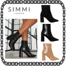 SIMMI Casual Style Street Style Block Heels Ankle & Booties Boots