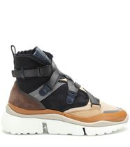 Chloe Round Toe Rubber Sole Leather Shearling Low-Top Sneakers