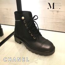 CHANEL Lace-up Casual Style Plain Leather Lace-up Boots