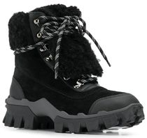 MONCLER Plain Toe Mountain Boots Rubber Sole Blended Fabrics Plain