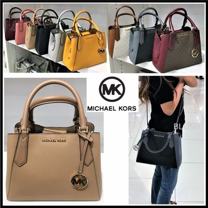 Monogram Casual Style 2WAY Plain Leather Office Style