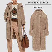 Weekend Max Mara Casual Style Wool Plain Long Elegant Style Duffle Coats