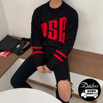 ASCLO Crew Neck Long Sleeves Plain Oversized Knits & Sweaters