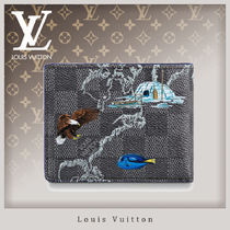 Louis Vuitton DAMIER GRAPHITE Other Check Patterns Unisex Canvas Leather Folding Wallets