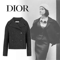 Christian Dior Short Casual Style Wool Plain Peacoats