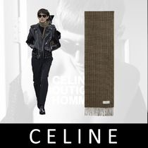 CELINE Other Check Patterns Zigzag Unisex Cashmere Tassel Fringes