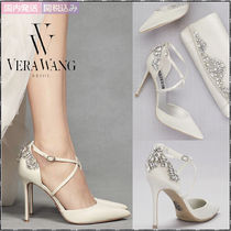 Vera Wang Faux Fur Plain Pin Heels With Jewels Elegant Style Shoes