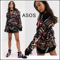 ASOS Crew Neck Cable Knit Casual Style Nylon Tassel Long Sleeves