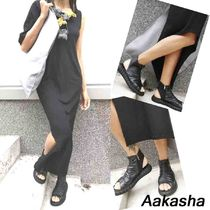 Aakasha Open Toe Rubber Sole Casual Style Street Style Plain Leather