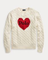 Ralph Lauren Crew Neck Cable Knit Heart Casual Style Long Sleeves Plain
