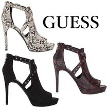 G BY GUESS Open Toe Casual Style Plain Other Animal Patterns Pin Heels