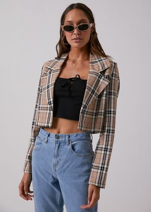 Short Tartan Casual Style Street Style Long Sleeves Cropped