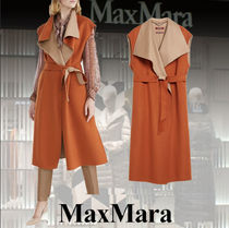 MaxMara Casual Style Wool Cashmere Blended Fabrics Plain Long