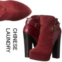 CHINESE LAUNDRY Casual Style Suede Plain Block Heels Elegant Style