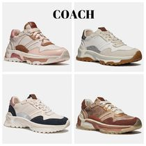 Coach Round Toe Rubber Sole Casual Style Suede Blended Fabrics