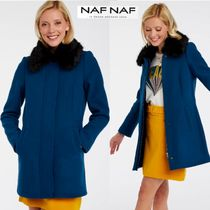NAF NAF Faux Fur Plain Long Peacoats