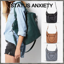 STATUS ANXIETY Casual Style Unisex A4 2WAY Plain Leather Office Style
